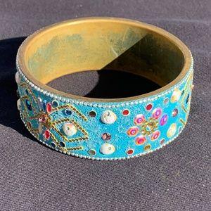 Funky Blue & Brass Bracelet